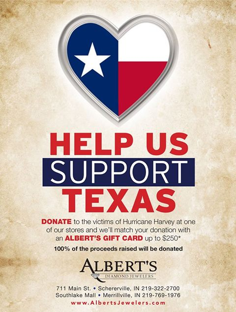 Albert's Diamond Jewelers to Match Donations for Hurricane Harvey Victims with Gift Card, Up to $250