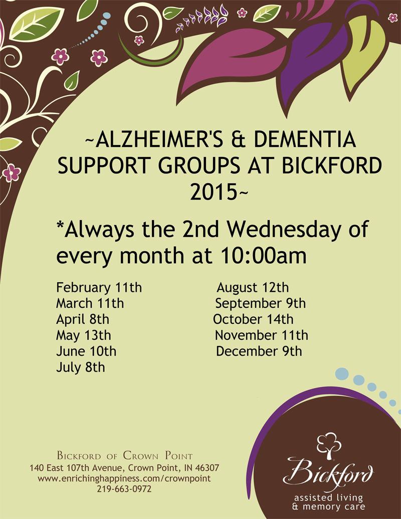 Bickford of Crown Point Offers Alzheimer's & Dementia Support Groups