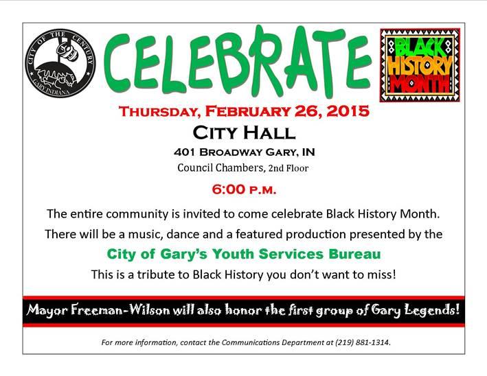 City of Gary to Host Black History Program – Thursday at 6pm at City Hall