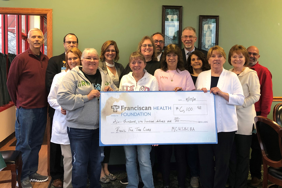 Bowl-for-the-Cure-donation-to-Franciscan-Health-Michigan-City-Breast-Care-Center-2019