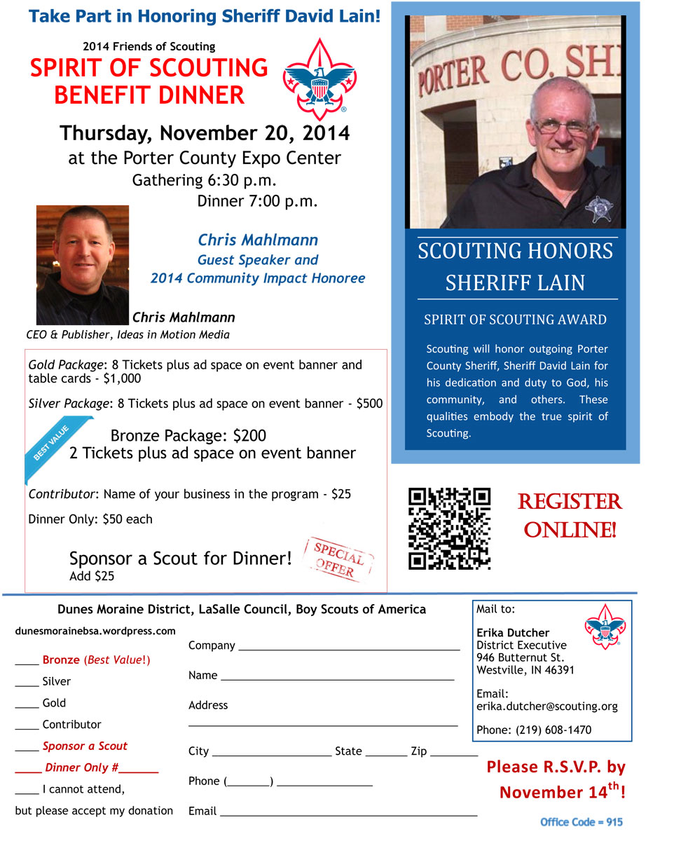 2014 Friends of Scouting's Spirit of Scouting Benefit Dinner to Honor Sheriff David Lain