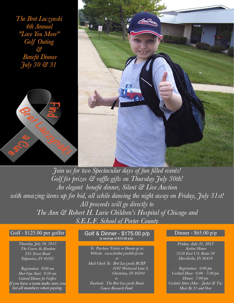 """4th Annual Bret Laczynski """"Love You More"""" Golf Outing on July 30 and Benefit Dinner on July 31, 2015"""