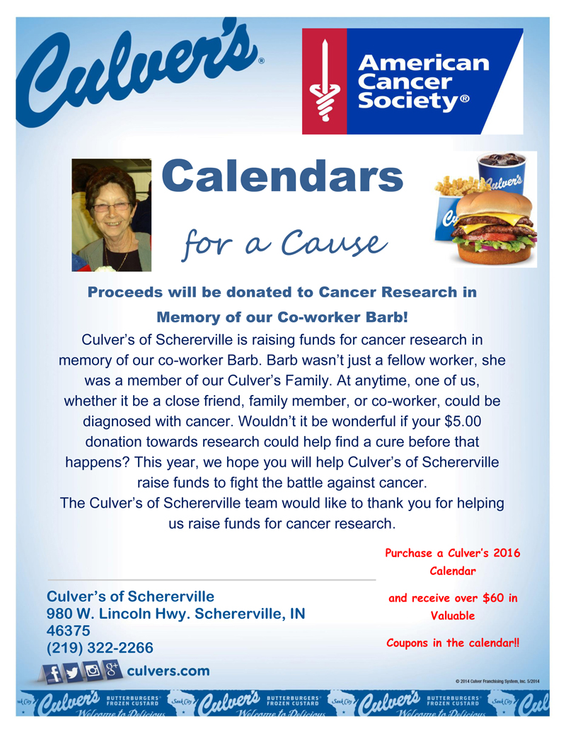 Culver's of Schererville to Offer 2016 Calendars for a Cause