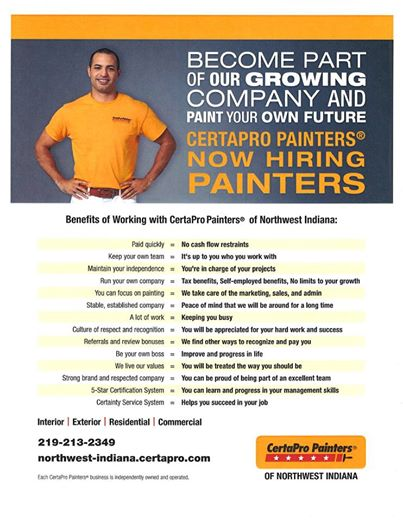 CertaPro Painters of Northwest Indiana Now Hiring Painters and Job Site Supervisors
