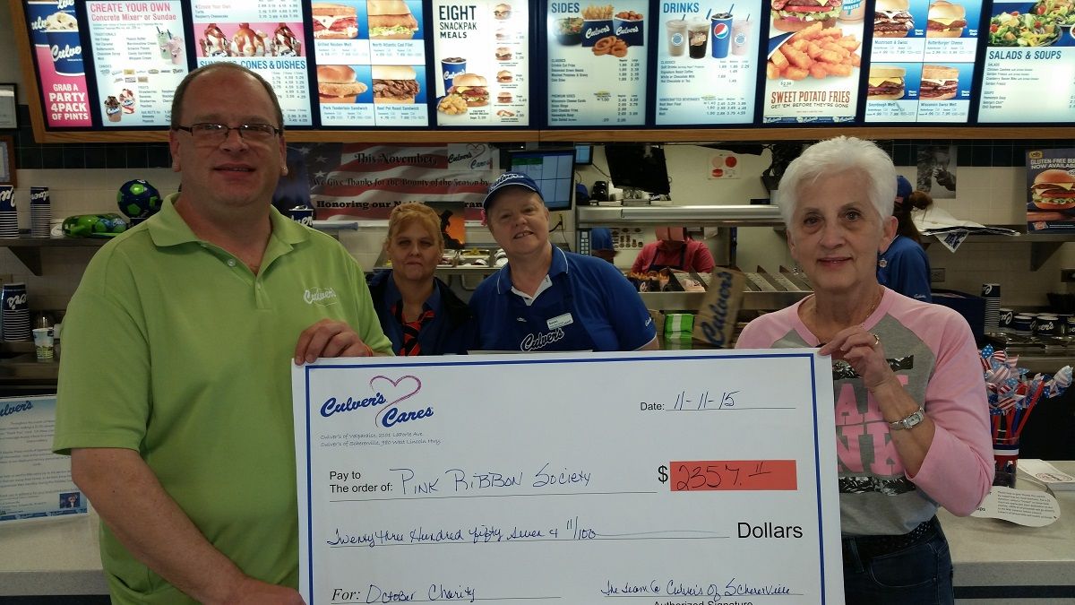 Culver's of Schererville Donates Over $2,300 to the Pink Ribbon Society