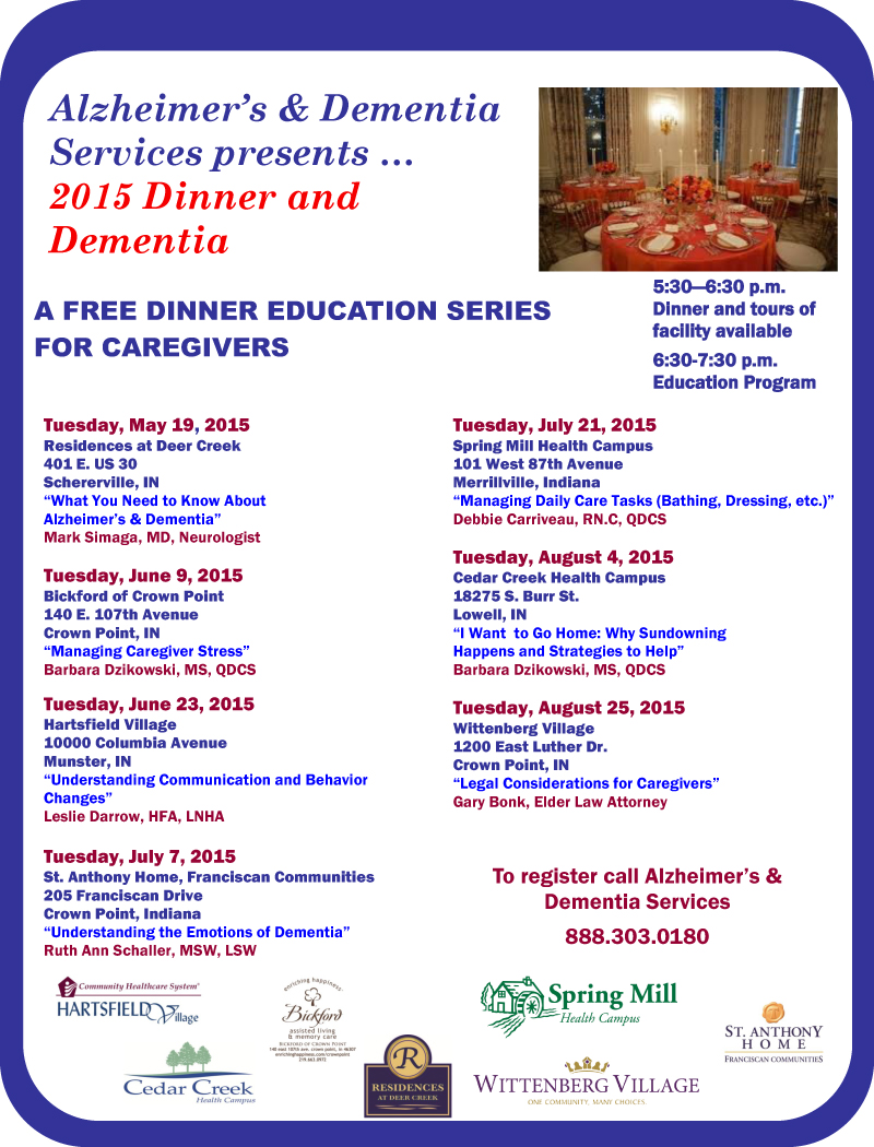2015 Dinner and Dementia Educational Series