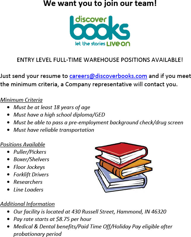 Discover-Books-Hiring-Entry-Level-Full-Time-Warehouse-Positions