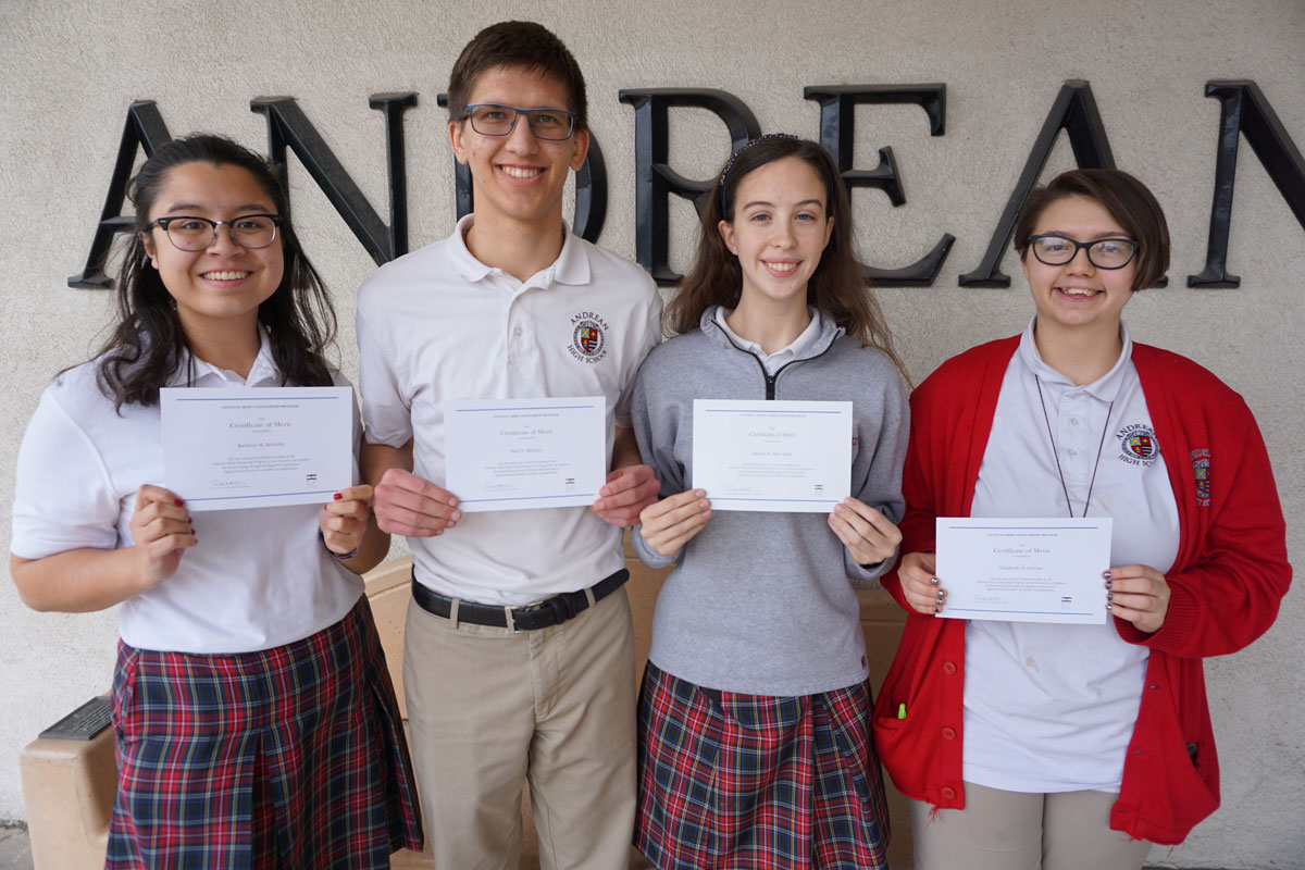 Four Andrean High School Students Named as National Merit Scholarship Finalists