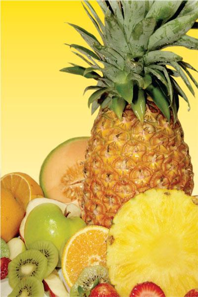 Fruits-pineapples-apple-orange