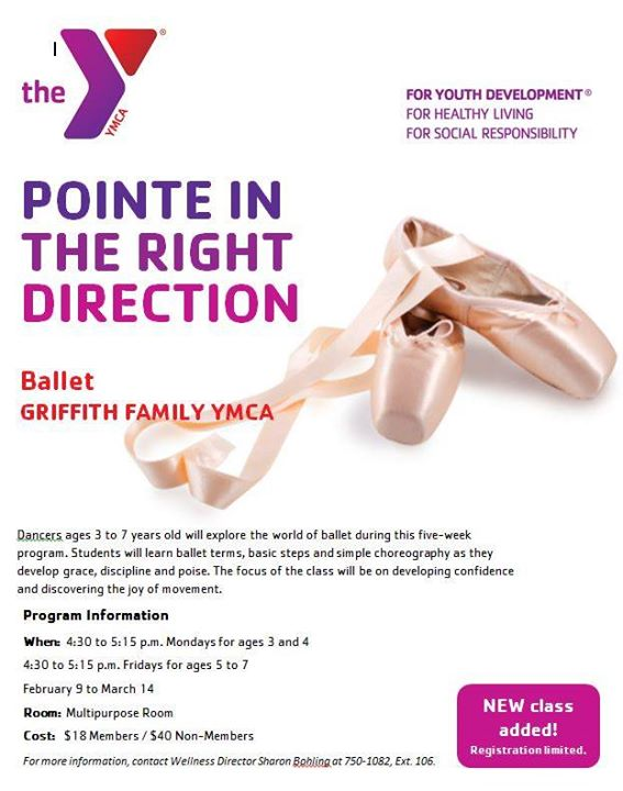Time is Running Out, Register for the Girffith Family YMCA's Ballet Winter Session II