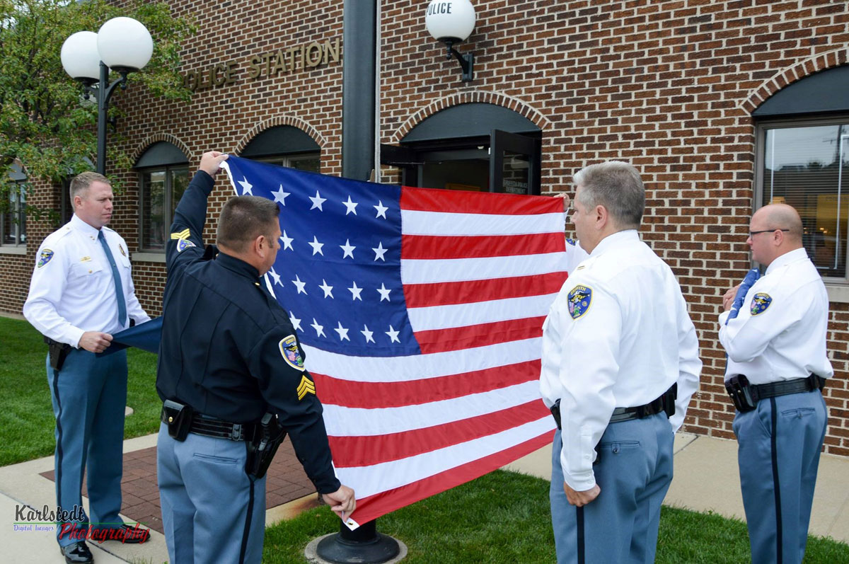 Griffith Police Department Participates in Flag Day during Indiana Bicentennial
