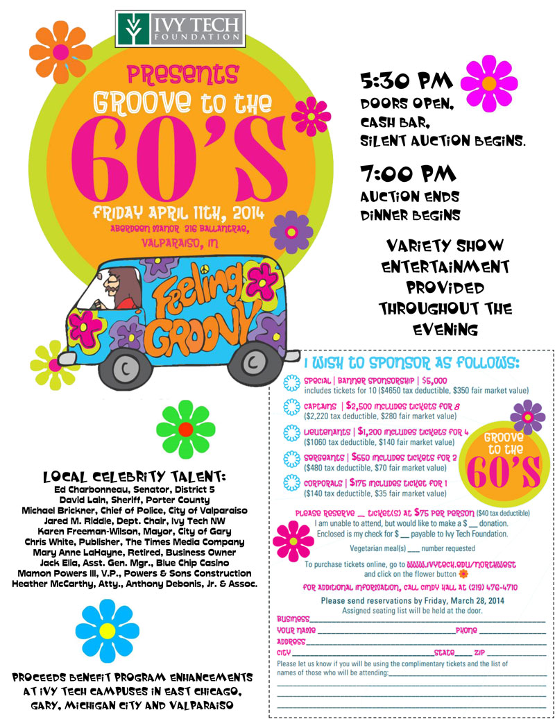 """Ivy Tech """"Groove to the Sixties"""" Variety Show Fundraiser"""