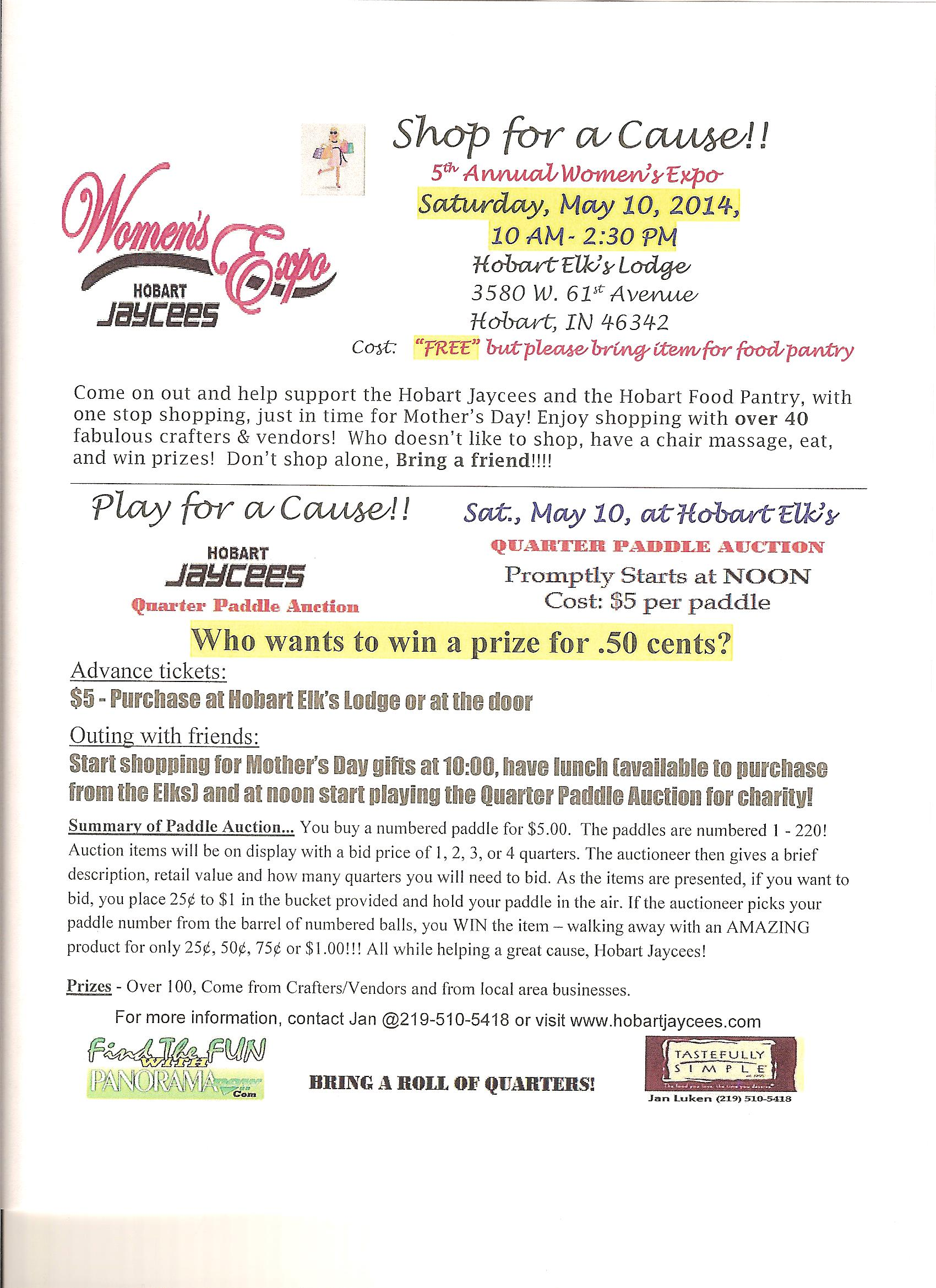 Hobart Jaycees Women's Expo & Quarter Paddle Auction on May 10