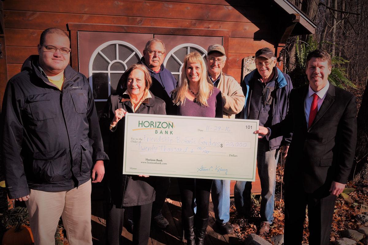 Horizon Bank Bestows Gift of $20,000 to Friendship Botanic Gardens