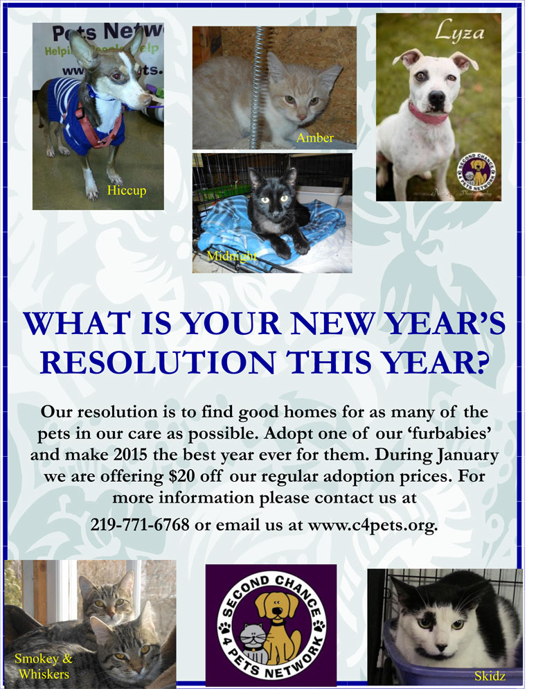 Second Chance 4 Pets Network January 2015 Adoption Promotion