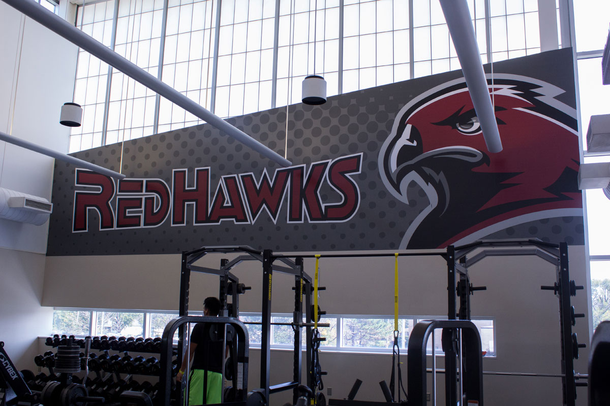 IUN-FitnessCtr-RedHawksWall