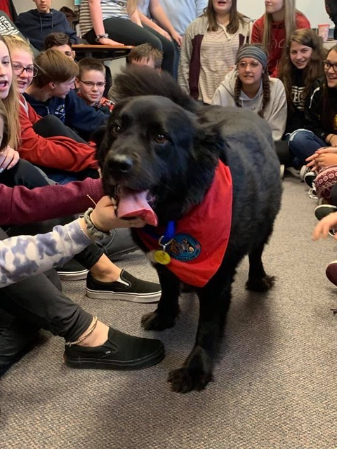 Kouts-High-School-Welcomes-Toby-the-Therapy-Dog