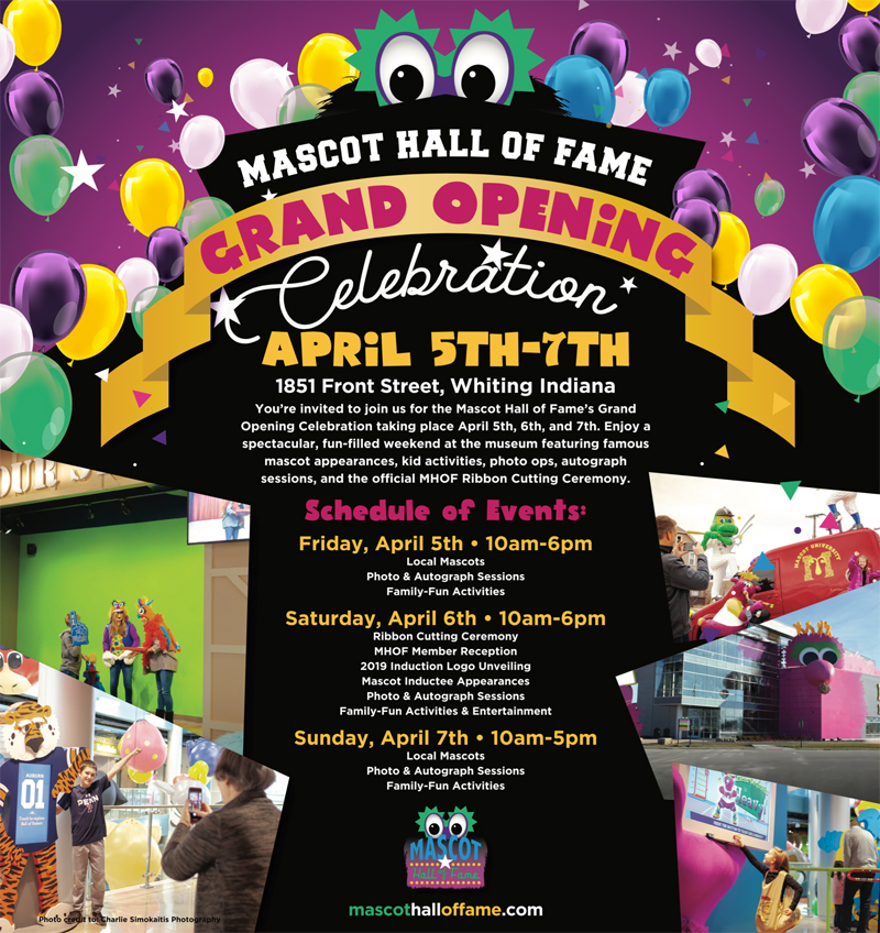 Mascot Hall of Fame to Host Grand Opening Celebration April 5th, 6th, & 7th