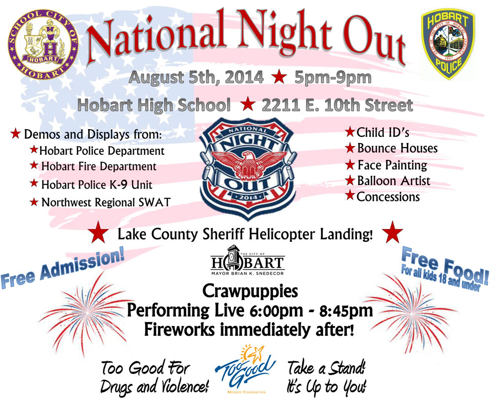 National Night Out: Tuesday, August 5 at Hobart High School