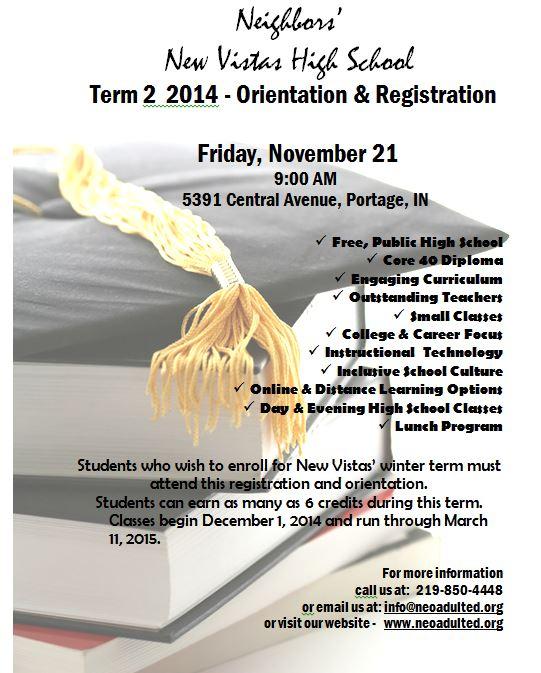 New Vistas High School 2014 Winter Term Now Enrolling