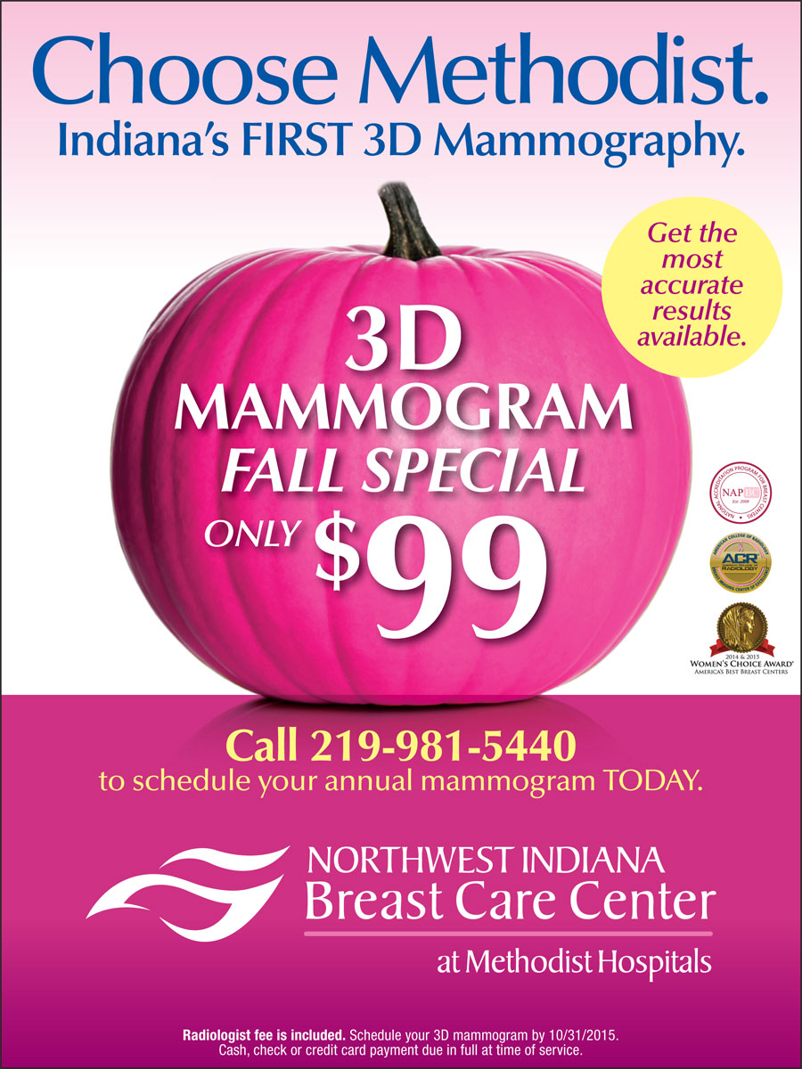 Northwest Indiana Breast Care Center Running Fall 2015 3-D Mammogram Special