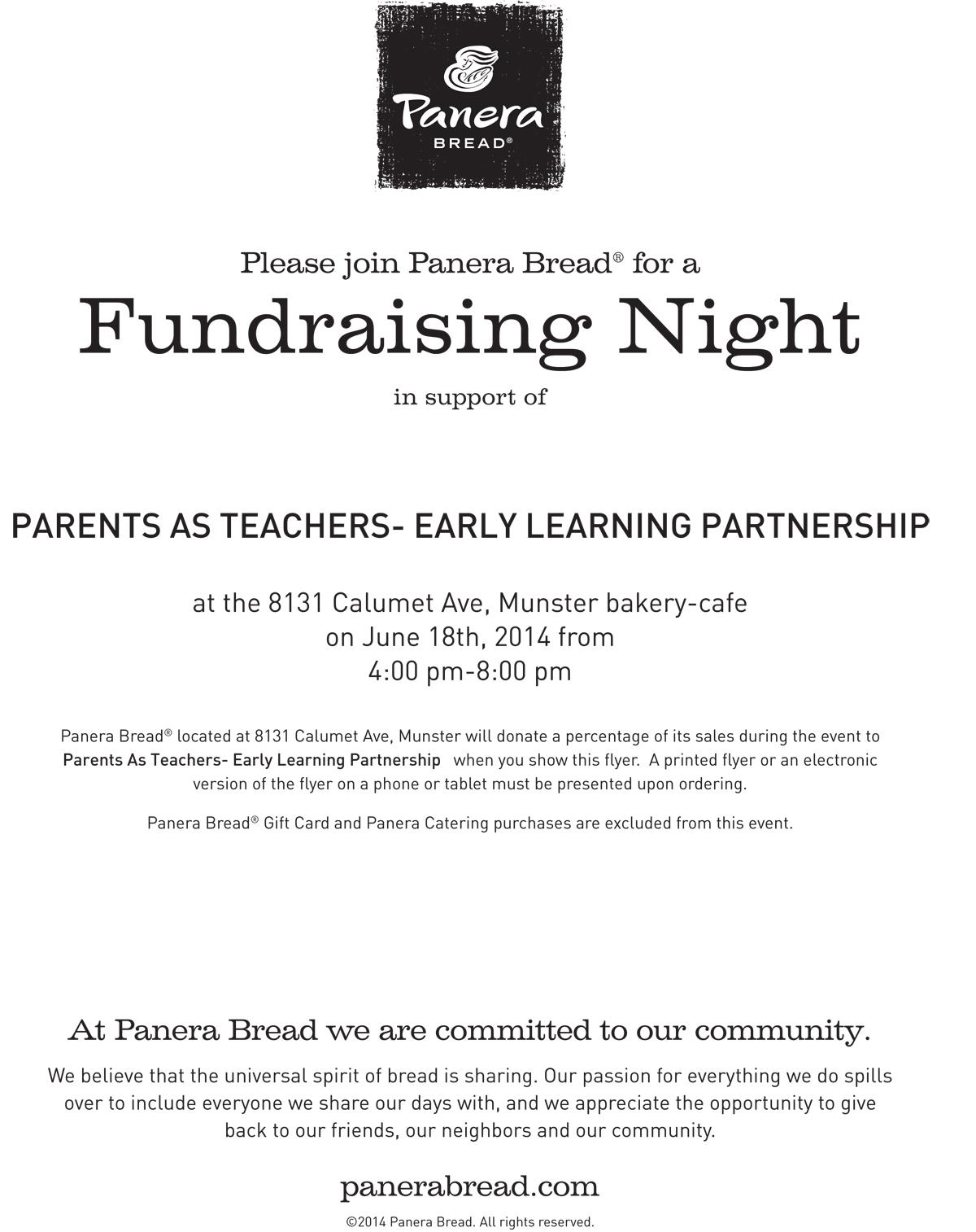 Parents as Teachers Fundraising Night at Munster Panera Bread