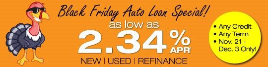 REGIONAL Federal Credit Union Black Friday Special: Auto Loans as low as 2.34% APR