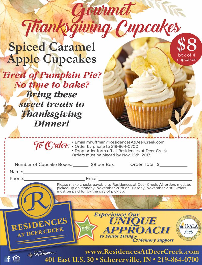 Residences at Deer Creek Offering Gourmet Thanksgiving Cupcakes