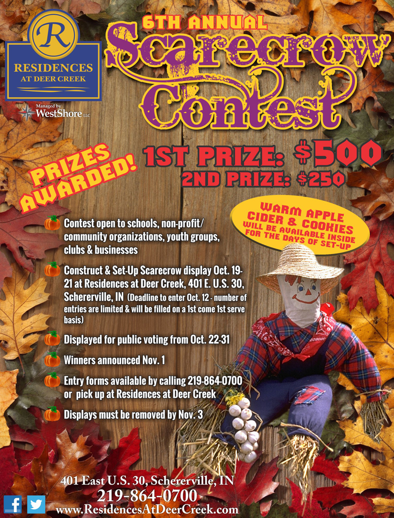 Residences at Deer Creek to Hold 6th Annual Scarecrow Contest