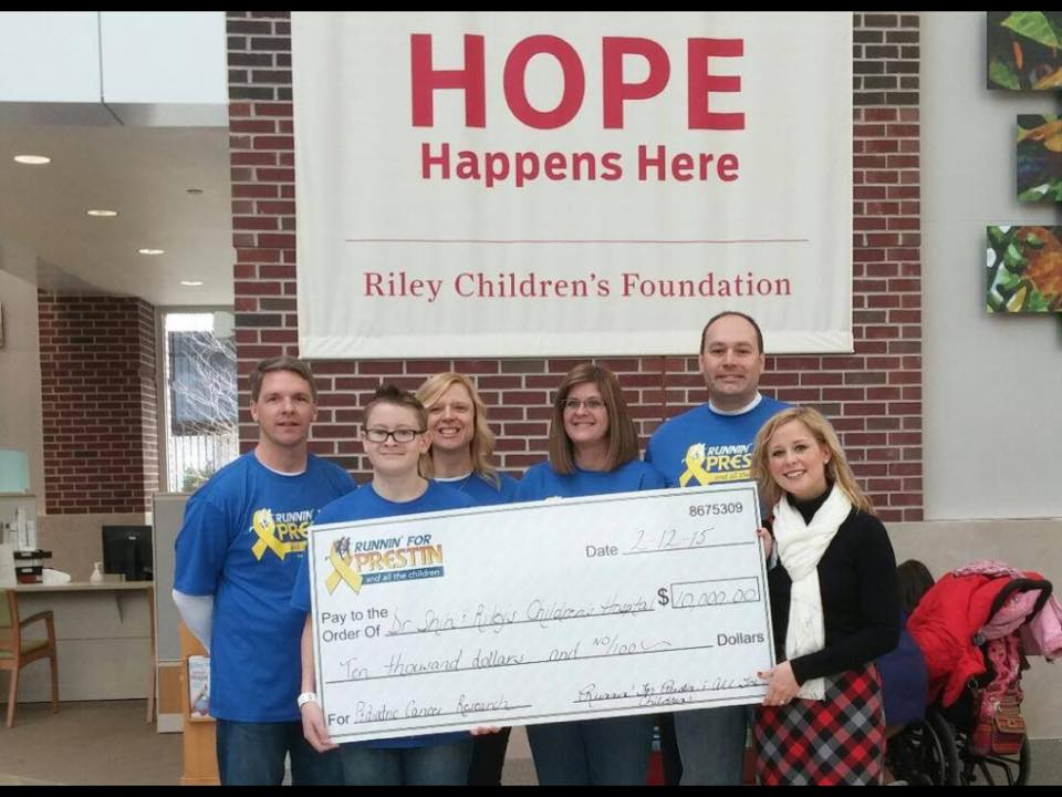 Running for Prestin and All the Children donates $10,000 to Riley's Children's Hospital -Pediatric Cancer Research Fund