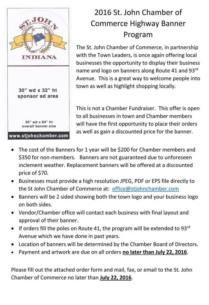 St. John Chamber of Commerce Re-Launches Highway Banner Program in 2016