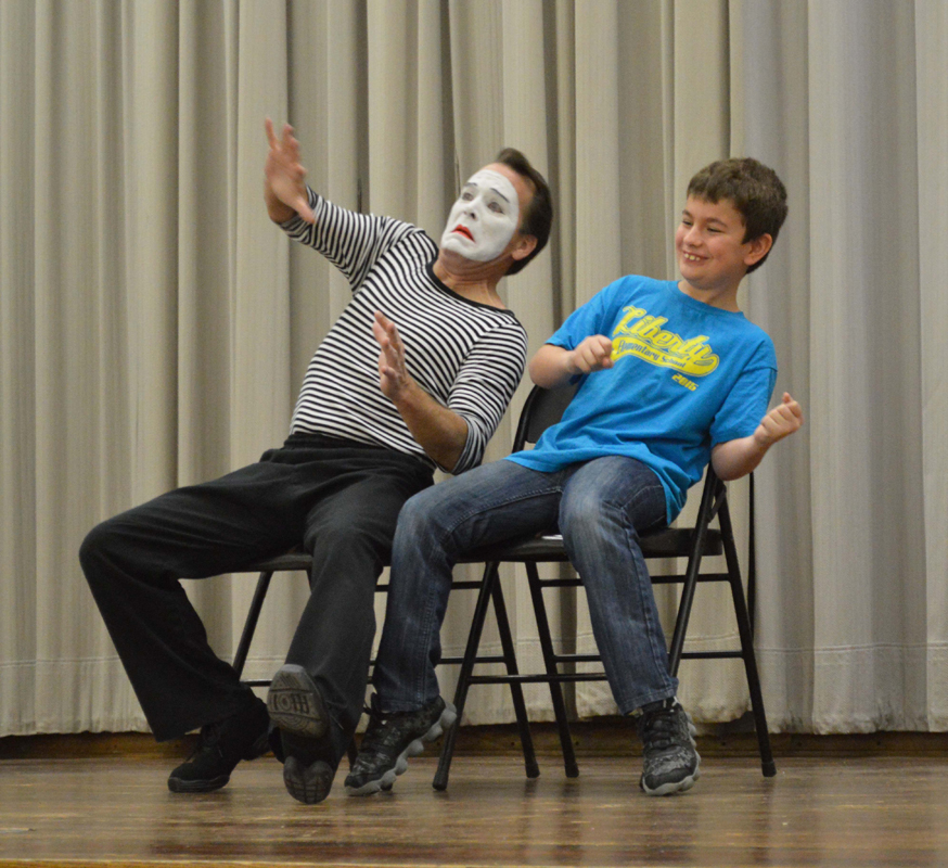 Toma the Mime Visits Liberty Intermediate Students in 2016