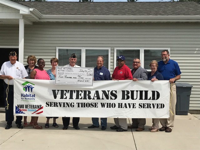 Northwest Indiana Veterans Action Council Makes Kickoff Contribution to Habitat for Humanity of Northwest Indiana's 3rd Veteran Build