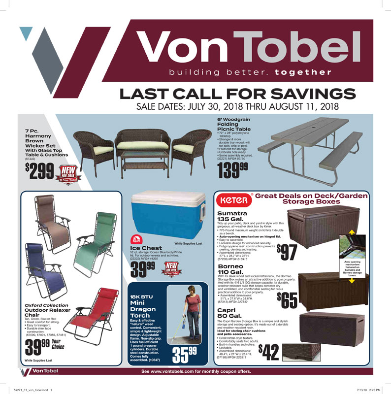 "Von Tobel Lumber & Hardware Holding ""Last Call for Savings"" Sales Event from July 30th – August 11th"