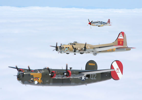 Three Famous WWII Bombers, Fighter Aircraft Flying to Valparaiso