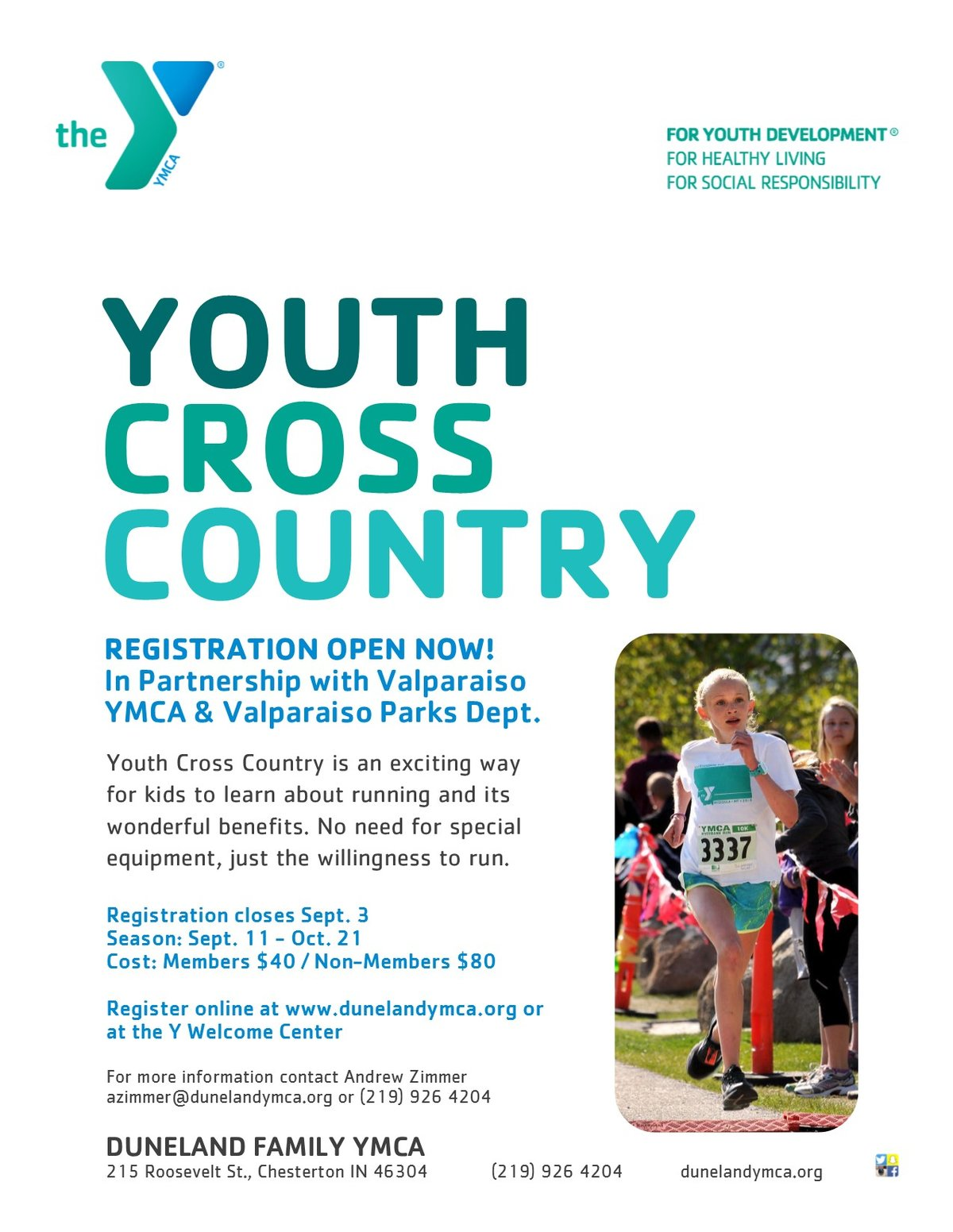 Duneland Family YMCA Youth Cross Country Starts September 11, 2017